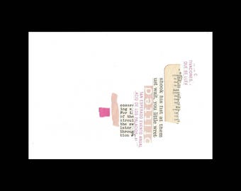 Concrete Poetry 18- collage found poetry art on paper contemporary minimalist art visual poetry