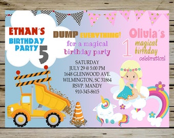 Construction and Unicorn BIRTHDAY Party INVITATION for SIBLINGS, Brother and Sister - Dump Truck Birthday Invite, Unicorn Birthday Invite