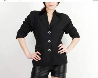 SALE Vintage Blazer / Laurel Blazer / Black Blazer / Woman Wool Blazer / Blazer Size 36