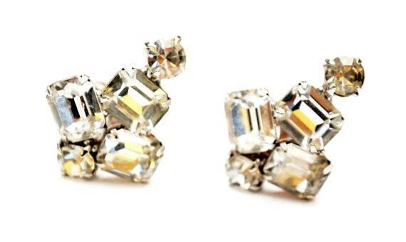 Rhinestone clip on earrings - Clear crystal - Wedding Bride - Prom Bling