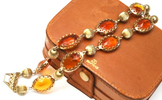 Ornage Glass Stone link bracelet -  Pegasus Coro Signed -  Amber yellow crystal   Gold metla-  mid century Bangle