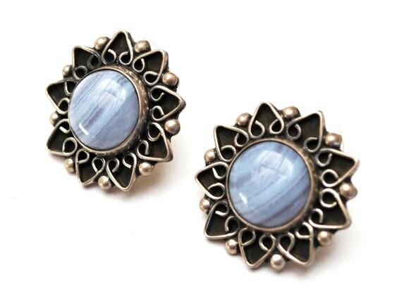 Sterling flower  Earrings -  Blue Glass - Silver floral  - pierced earrings - Signed Mexico