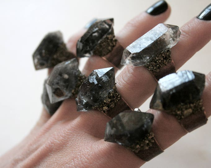 Tibetan Smoky Quartz Crystal Ring - Medium Size Crystal