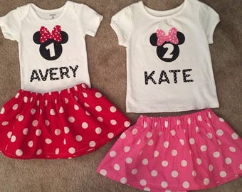Minnie Mouse Birthday outfit Dress up cake smash first Pink RED Skirt Bodysuit Girl Personalized NB 3 6 9 12 18 24 3 4 5 Toddler SALE