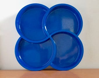 Vintage Dansk Divided Serving Tray by Gunnar Cyren -- Blue