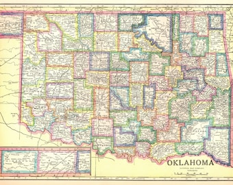 1947 Vintage OKLAHOMA Map Antique Map of Oklahoma State Map