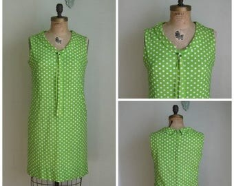 Summer Clearout Vintage 1960's Lime Green and White Poly Polka Dot Dress
