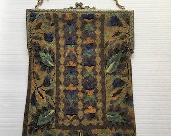 Antique Large Beaded Purse 8x11 Oriental Carpet Design   Antique Floral Beaded Purse