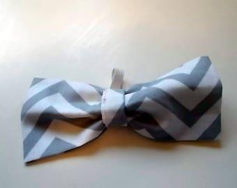 Handmade Grey Chevron Dog Bow Tie, Dog Bow Tie