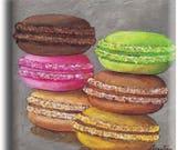 Magnet, aimant carré avec six macarons sur un fond gris patiné
