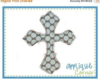 50% Off Cross Raggy Faith applique digital design for embroidery machine by Applique Corner