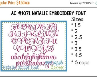 50% Off INSTANT DOWLOAD Natalie Embroidery Font 1071  bx, dst, jef and pes only digital design for embroidery machine by Applique Corner