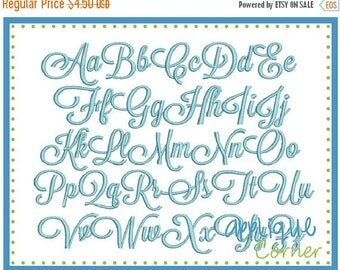 50% Off 1022 Sunday Script Embroidery Font in bx, dst, jef and pes digital design for embroidery machine by Applique Corner