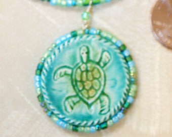 sea turtle necklace and earrings with handmade ceramic focals