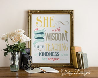 PRINTABLE, Bible Verse, Mother's day, Scripture art, Proverbs 31, Wall art,  Proverbs 31:26, Unique gift, Instant Download