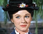 Black Straw Hat in Mary Poppins Style