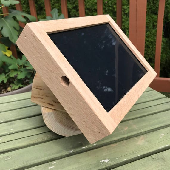 Rustic White Cedar and Oak iPad Air Desktop Swiveling Stand for Square Retail POS or Home  Applications