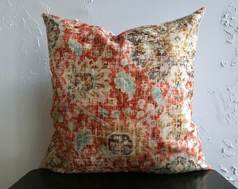 Orange Turquoise Pillow Cover, 18x18 Luxury Decorative Pillow Cover, Chenille Distressed Chenille Throw Pillow