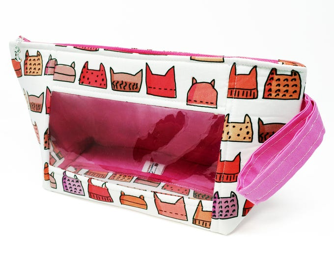 """Featured listing image: Handled Window Wedge """"Pussyhats"""" Cosmetic/Accessory/Project Bag"""