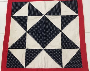 """Handcrafted Baby Quilt Red White Blue Fourth of July Wall Decor 33"""" x 34"""""""