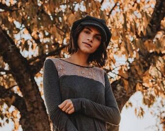 Nina Hi-lo Top in Charcoal Grey