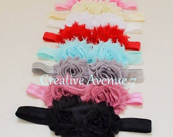 You Pick Double Shabby Headband- Flower Headband- Baby Shabby Headband- Double Shabby Headband
