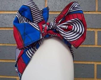 Headtie - African Headwraps - African Print Headtie - African Headgear - Headbands - Blue Super Hero - Hair Accessories by Afrocentric805