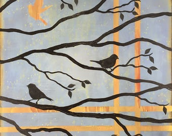 Birds On A Limb 3 Wall Art Series By Artist Rafi Perez Original Art On Gallery Wrapped Canvas 30X30
