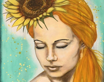 Calm Golden Sunflower Original Painting by artist Rafi Perez Mixed Medium and Gold Leaf on Canvas 24x30