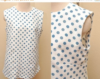 ON SALE 60s Shift Dress Womens Large White Blue Polka Dots