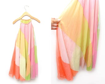 70s Pastel High Neck Nightgown Vanity Fair Women's Gown OSFM