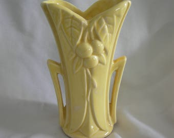 Yellow Bud Vase   Made in USA by McCOY   Cherry or Berry Leaf Motif   Vintage Mid Century