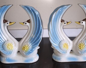 Brazilian Swan Figurines Vintage Pair of MADE in BRAZIL Large Figural Swan Statues