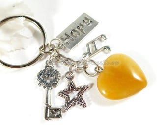 Orange Agate Gemstone Heart Key Chain, Heart Charm Keychain, Agate Crystal Gemstone Keychain, Orange Crystal Keychain,  Mothers Day Gifts