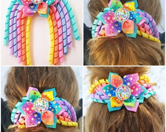 unicorn rainbow bow, bow hair clip, big bows for girls, ponytail bow, gifts for girls, birthday girl bow, cheer Bows, dance hairpiece