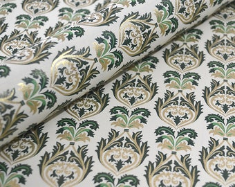 Italian Florentine Paper - Brocade Green and Gold