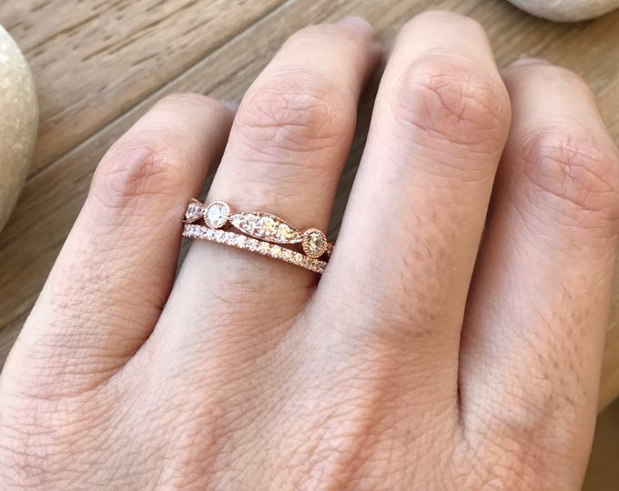 14k Rose Gold Eternity Band- Rose Gold Wedding Band- Cubic Zirconia Ring Set- Two Row Wedding Band- Double Ring Set
