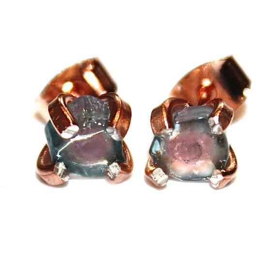 Tiny Blue Watermelon Tourmaline Stud Earrings in Rose Gold