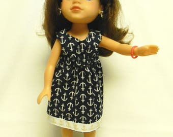 Wellie Wishers Like Navy Anchor Print Dress For 14.5 Inch Doll