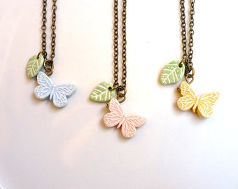 Butterfly Necklace, flowergirl butterfly, easter, pastel colors, spring, Girl birthday gift, tiny butterfly