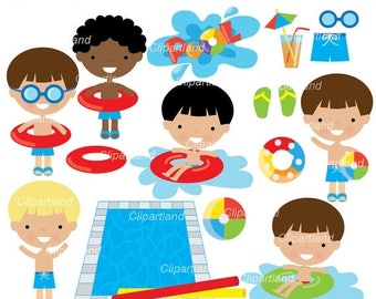 ON SALE INSTANT Download.  Pool party clip art. Cp_13_pool_boy. Personal and commercial use.