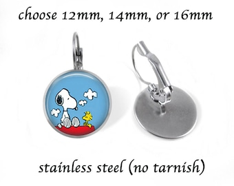 Snoopy Earrings Jewelry - Post or Dangle - Stainless Steel 12mm, 14mm, 16mm - Bronze Copper 12mm Dangle - Snoopy Jewelry - Leverback - Gift