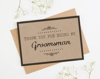 Thank You Groomsman Card - Kraft Rustic