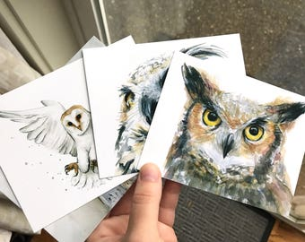 Owls Postcard Set, Owl Cards, Owl Watercolor Painting, Great Horned Owl, Barn Owl Print,  Animal Postcards Watercolor Cards - Set of 4 Cards