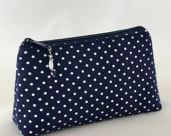 Navy Blue Polka Dot Zippered Pouch