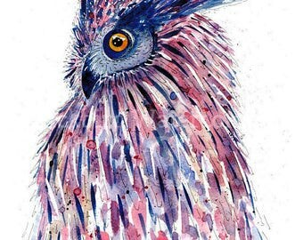 "Hoot 16"" x 20"" Owl print from original watercolour"