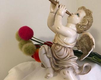 "VINTAGE ITALIAN TRUMPETING AnGEL, Cherub, Angel, Italian Cherub, 11"" Height, Baroque, Rococco, Vintage Angel, Religious at Ageless Alchemy"