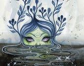 The Black Lagoon - spooky art, digital fine art print, zombie, cute scary art, halloween illustration, ink drawing, postcard, tiny art