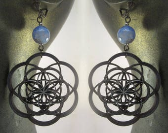 Seed of Life earrings, laser cut, mandala, flower of life, sacred geometry, lace agate, laser cut jewelry, wood earrings, phresha
