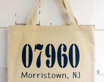 Personalized Zip Code and Town Name Large Canvas Tote Bag